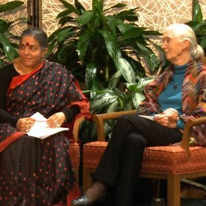 Vandana Shiva (left) and Jane Goodall during an interview about climate change, democracy, and the role of women.