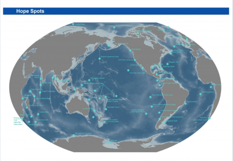 Map of Hope Spots identified by Mission Blue as key ocean regions deserving of special protection.